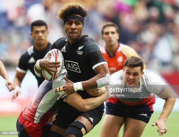 Luke Masirewa of New Zealand is tackled by Ivan Ovchinnikov of Russia during the Canada Sevens the Sixth round of the HSBC Sevens World Series at the...