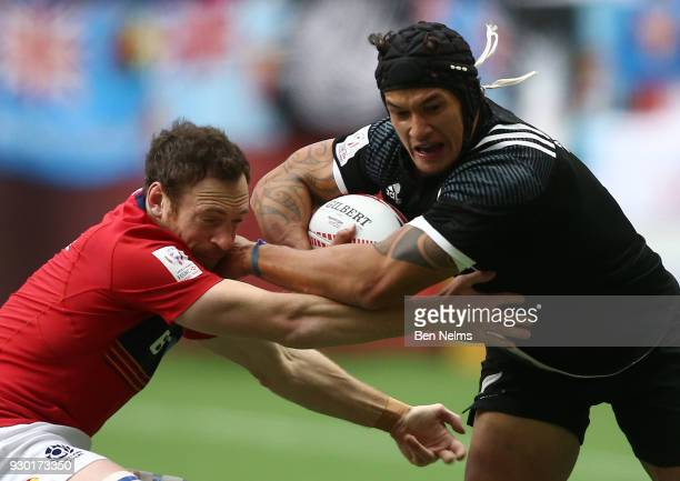 Luke Masirewa of New Zealand runs the ball against Scott Riddell of Scotland during the Canada Sevens the Sixth round of the HSBC Sevens World Series...