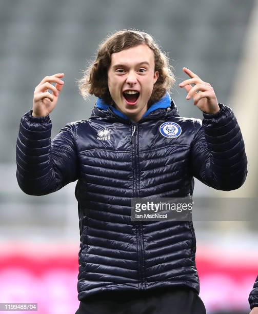 Luke Matheson of Rochdale AFC is seen on the pitch prior to the FA Cup Third Round Replay match between Newcastle United and Rochdale at St James...