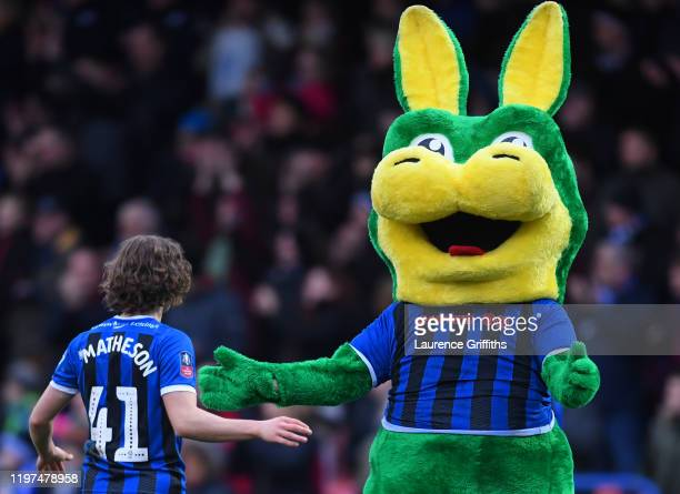 Luke Matheson of Rochdale celebrates with the Rochdale mascot Desmond the Dragon after the FA Cup Third Round match between Rochdale AFC and...