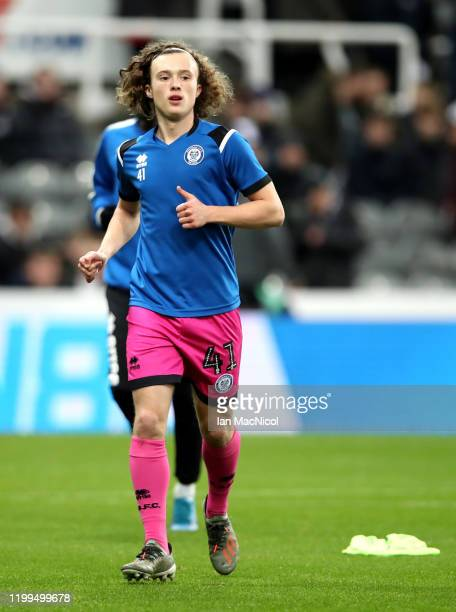 Luke Matheson of Rochdale warms up during the FA Cup Third Round Replay match between Newcastle United and Rochdale at St James Park on January 14...
