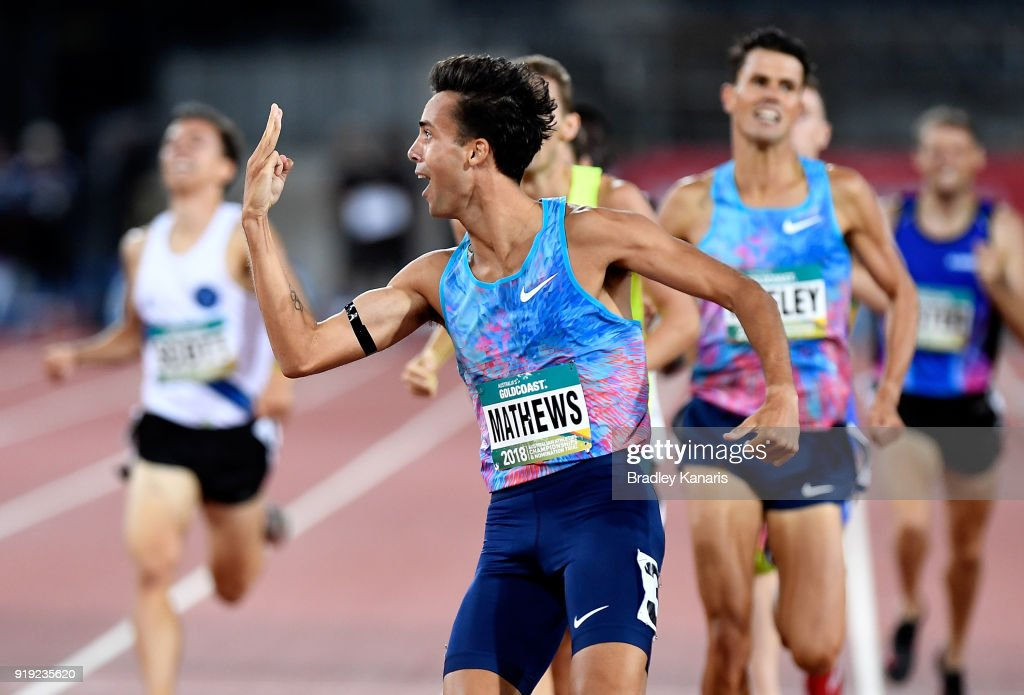 Luke Mathews celebrates winning the final of the Men's 800m event during the Australian Athletics Championships & Nomination Trials at Carrara Stadium on February 17, 2018 in Gold Coast, Australia.