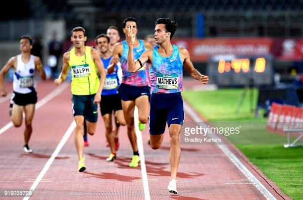 Luke Mathews celebrates winning the final of the Men's 800m event during the Australian Athletics Championships Nomination Trials at Carrara Stadium...