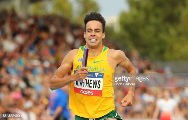 Luke Mathews of Australia competes in the Mixed 2000 Sprint Medley race during the Melbourne Nitro Athletics Series at Lakeside Stadium on February...
