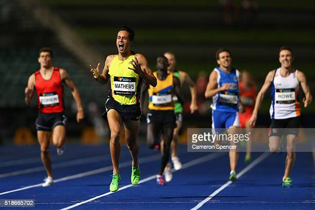Luke Matthews of Victoria celebrates as he heads to the finish line to win the mens 800m final during the Australian Athletics Championships at...