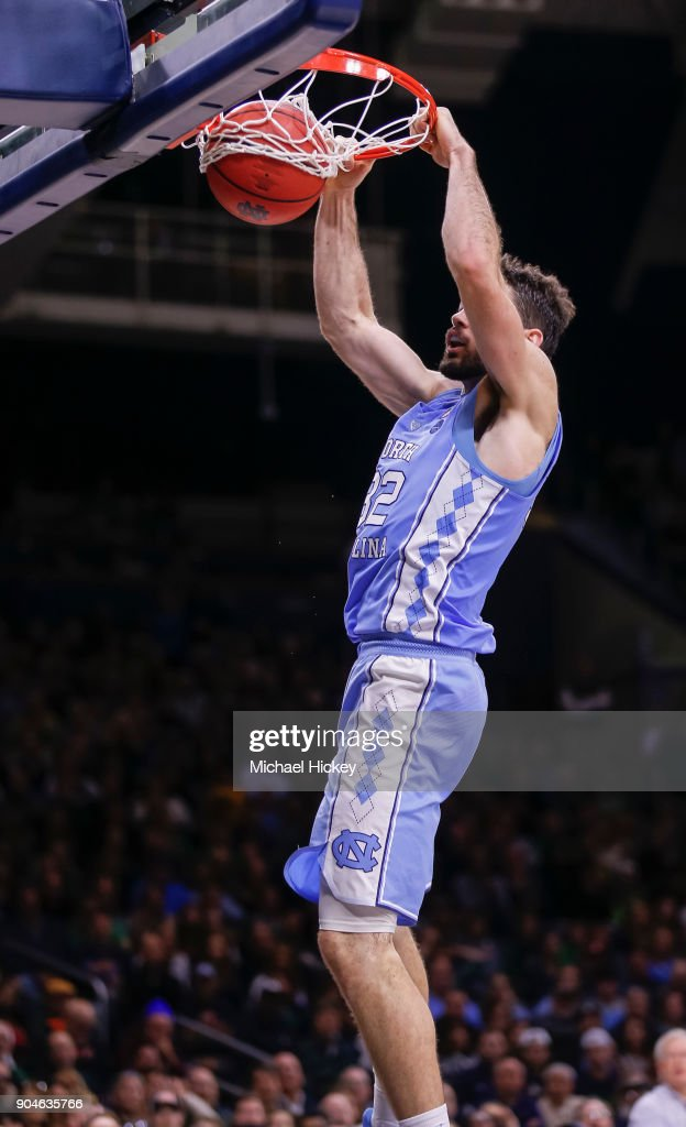 Luke Maye #32 of the North Carolina Tar Heels dunks the ball during the game against the Notre Dame Fighting Irish at Purcell Pavilion on January 13, 2018 in South Bend, Indiana.