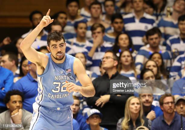 Luke Maye of the North Carolina Tar Heels reacts after a play against the Duke Blue Devils during their game at Cameron Indoor Stadium on February 20...