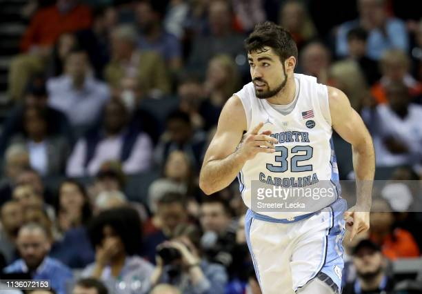 Luke Maye of the North Carolina Tar Heels reacts against the Duke Blue Devils during their game in the semifinals of the 2019 Men's ACC Basketball...