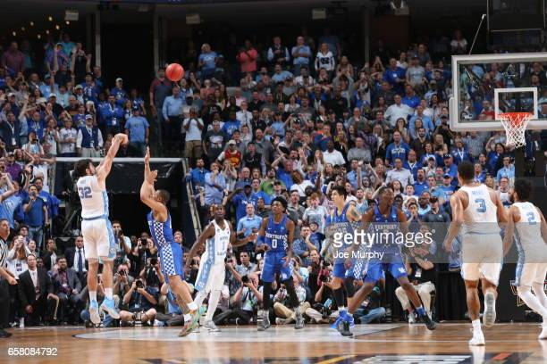 Luke Maye of the University of North Carolina Tar Heels hits a game winning basket against the University of Kentucky Wildcats during the 2017 NCAA...