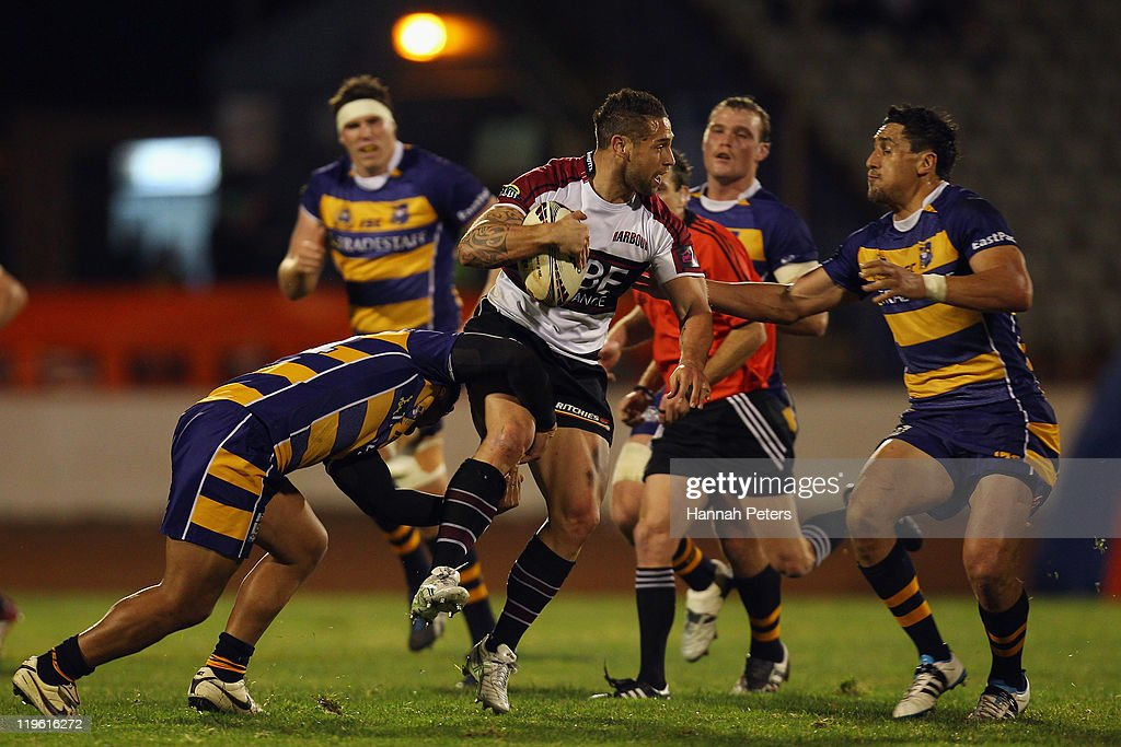 Luke McAlister of North Harbour makes a break during the round three ITM Cup match between Bay of Plenty and North Harbour at Baypark Stadium on July 23, 2011 in Mount Maunganui, New Zealand.