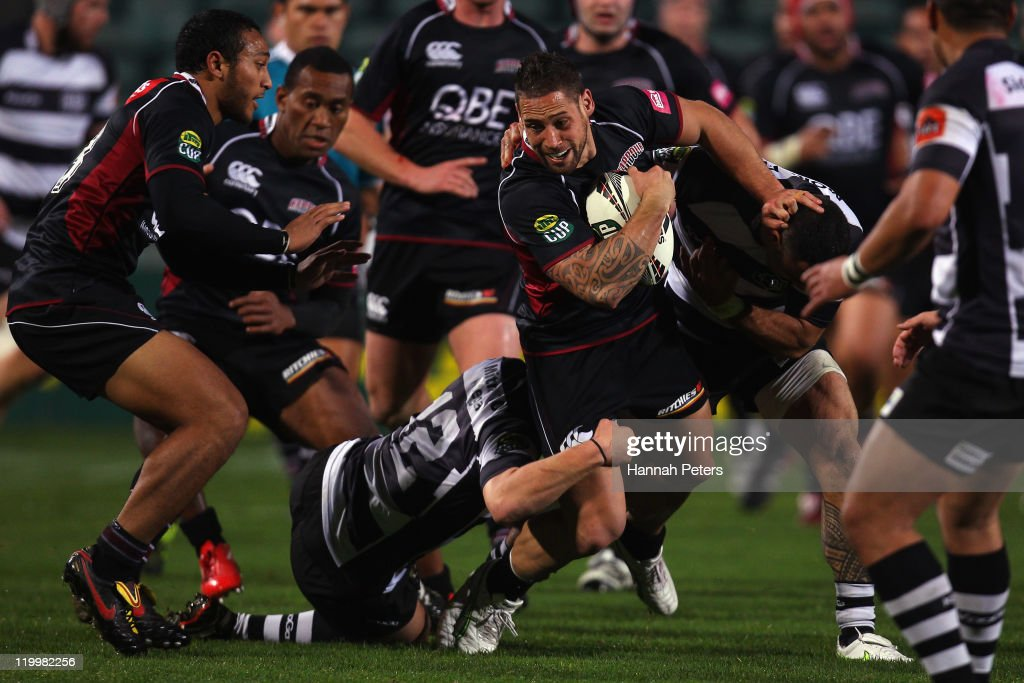 Luke McAlister of North Harbour tries to make a break during the round five ITM Cup match between North Harbour and Hawke's Bay at North Harbour Stadium on July 28, 2011 in Auckland, New Zealand.