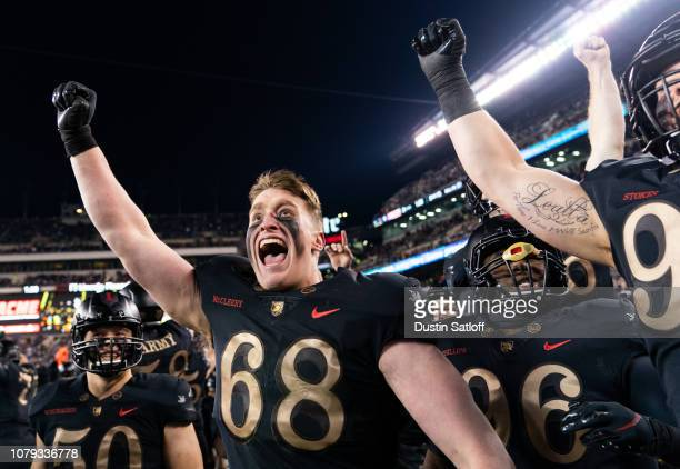 Luke McCleery of the Army Black Knights reacts after an interception against the Navy Midshipmen at Lincoln Financial Field on December 8, 2018 in...