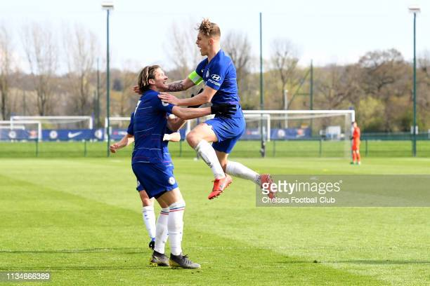 Luke McCormick celebrates scoring the second goal with Conor Gallagher of Chelsea during the Chelsea v Dinamo Zagreb UEFA Youth League Quarter Final...