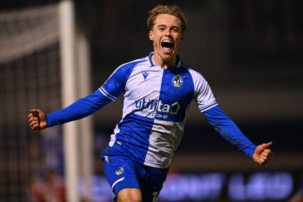 Luke McCormick of Bristol Rovers celebrates setting up Zain Westbrooke of Bristol Rovers to score their side's fourth goal during the Sky Bet League...