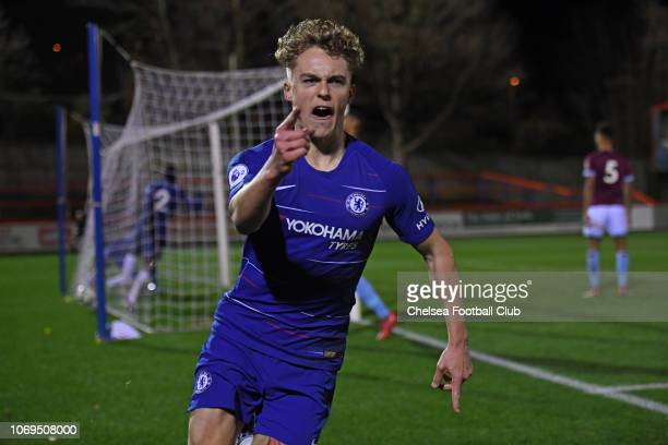 Luke McCormick of Chelsea celebrates scoring the winning goal during the Premier League 2 match between Chelsea and West Ham United at EBB Stadium on...