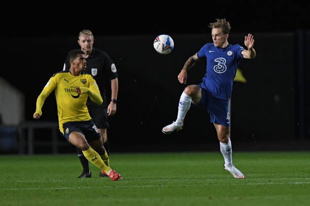 Luke McCormick of Chelsea during the EFL Trophy match between Oxford United FC and Chelsea U23 at The Kassam Stadium on September 8, 2020 in Oxford,...