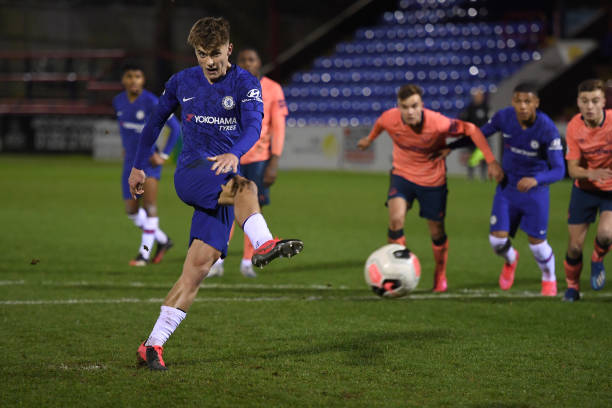 Luke McCormick of Chelsea scores from the penalty spot during the Chelsea v Everton Premier League 2 match at EEB Stadium on March 2, 2020 in...