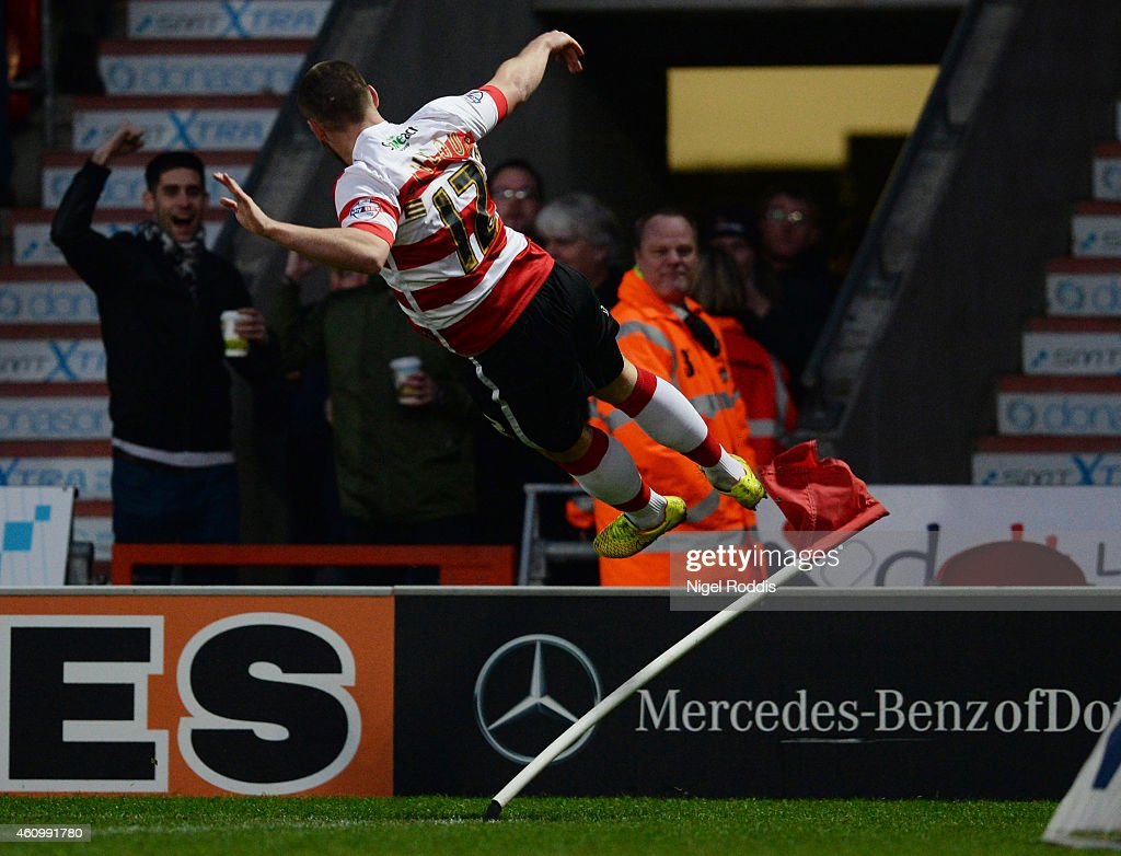 Luke McCullough of Doncaster Rovers celebrates scoring during the FA Cup Third Round match between Doncaster Rovers and Bristol City at Keepmoat Stadium on January 3, 2015 in Doncaster, England.