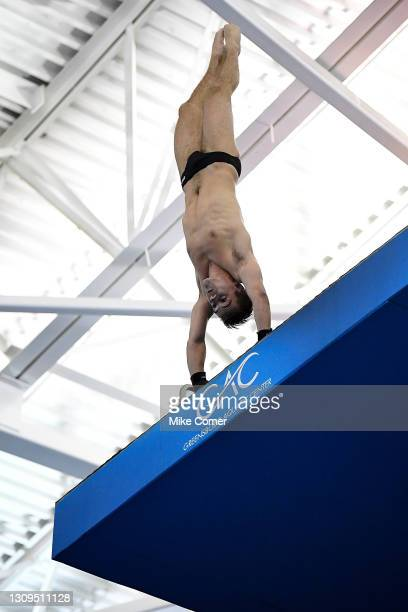 Luke McDivitt of the University of Utah Utes competes in the Championship Final of the Platform Diving Competition during the Division I Men's...
