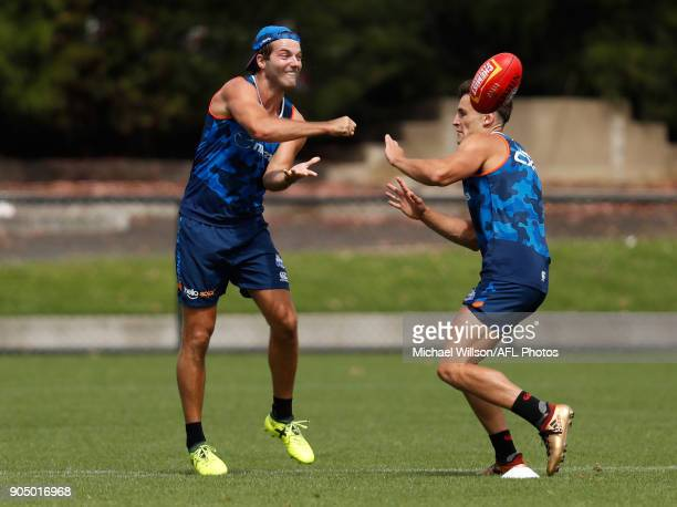 Luke McDonald of the Kangaroos in action during a North Melbourne Kangaroos Training Session at Arden Street Ground on January 15 2018 in Melbourne...
