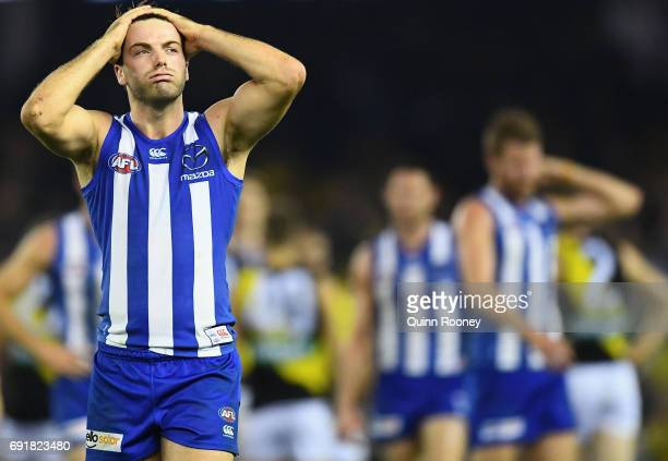 Luke McDonald of the Kangaroos looks dejected after losing the round 11 AFL match between the North Melbourne Kangaroos and the Richmond Tigers at...