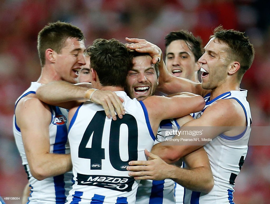 Luke McDonald of the Roos celebrates a goal during the First AFL Semi Final match between the Sydney Swans and the North Melbourne Kangaroos at ANZ Stadium on September 19, 2015 in Sydney, Australia.