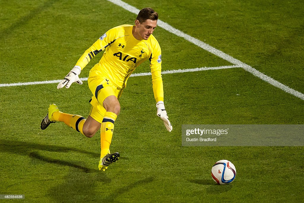 Luke McGee #48 of Tottenham Hotspur dives on the ball during the 2015 AT&T Major League Soccer All-Star game against the MLS All-Stars at Dick's Sporting Goods Park on July 29, 2015 in Commerce City, Colorado.