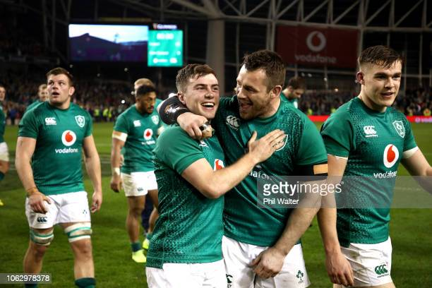 Luke McGrath and Cian Healy of Ireland celebrate following the International Friendly match between the New Zealand All Blacks and Ireland on...