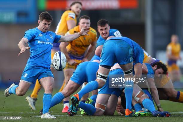 Luke McGrath of Leinster during the Heineken Champions Cup Quarter Final match between Exeter Chiefs and Leinster at Sandy Park on April 10, 2021 in...