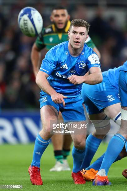 Luke McGrath of Leinster during the Heineken Champions Cup Round 4 match between Leinster Rugby and Northampton Saints at Aviva Stadium on December...