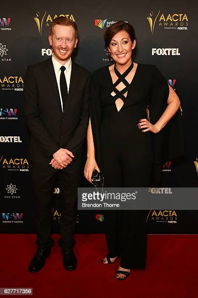 Luke McGregor and Celia Pacquola arrive ahead of the 6th AACTA Awards Presented by Foxtel | Industry Dinner Presented by Blue Post at The Star on...