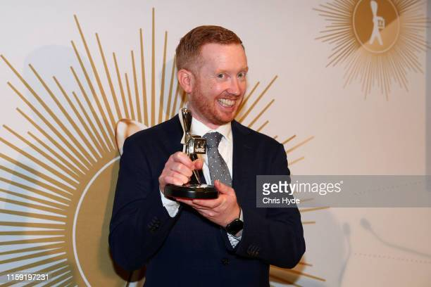 Luke McGregor poses with the Logie Award for Most Popular Actor during the 61st Annual TV WEEK Logie Awards at The Star Gold Coast on June 30 2019 on...