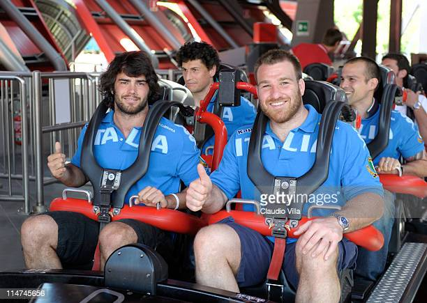 Luke McLean and Lorenzo Cittadini during the Italy rugby team visit to Mirabilandia amusement park on May 26 2011 in Ravenna Italy