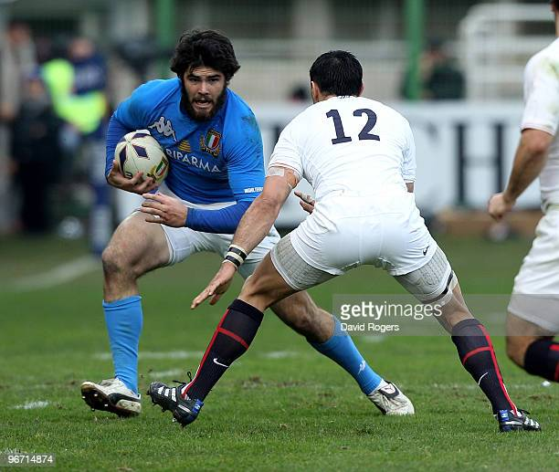 Luke McLean of Italy takes on Riki Flutey during the RBS Six Nations match between Italy and England at Stadio Flaminio on February 14 2010 in Rome...