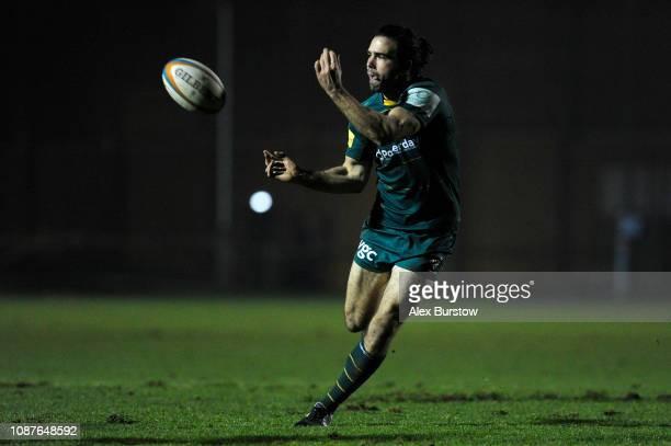 Luke McLean of London Irish passes the ball during the Greene King IPA Championship match between Hartpury College and London Irish at the Gillman's...