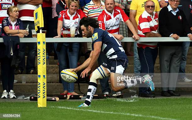 Luke McLean of Sale Sharks scores his side's third try against Gloucester Rugby during the Aviva Premiership match between Gloucester Rugby and Sales...