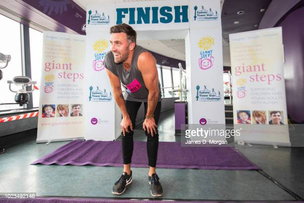 Luke McLeod at the summit of the Sydney Tower Stair Challenge at Sydney Tower on August 26 2018 in Sydney Australia The event sees participants climb...