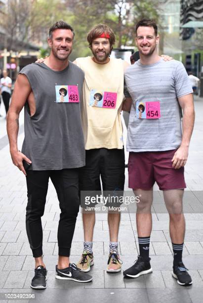 Luke McLeod Danny Clayton and James Magnussen before the Sydney Tower Stair Challenge at Sydney Tower on August 26 2018 in Sydney Australia The event...