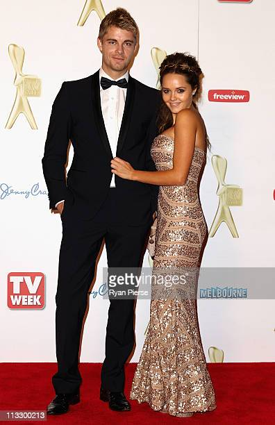 Luke Mitchell and Rebecca Breeds arrive on the red carpet ahead of the 2011 Logie Awards at Crown Palladium on May 1 2011 in Melbourne Australia