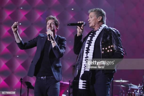 Luke Mockridge and David Hasselhoff perform on stage during the Deutsche Telekom presentation on March 6 2018 in Bonn Germany Deutsche Telekom...