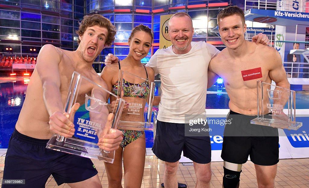 Luke Mockridge, Miss Ronja, Stefan Rabb and Markus Rehm attend the TV show 'TV Total Turmspringen' ('TV Total high diving') on November 29, 2014 in Munich, Germany.