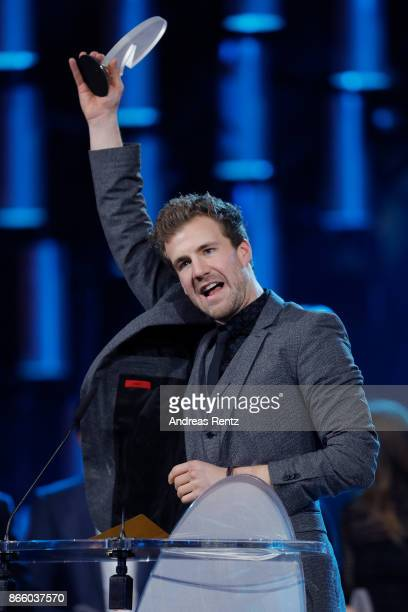 Luke Mockridge receives his award for 'Best Comedy Show' during the 21st Annual German Comedy Awards on October 24 2017 in Cologne Germany
