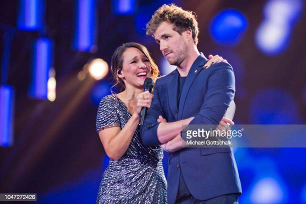 Luke Mockridge winner of Best LiveAct and host Carolin Kebekus at the 22nd Annual German Comedy Awards at Studio in Koeln Muehlheim on October 7 2018...