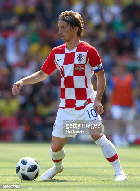 Luke Modric of Croatia controls the ball during the International Friendly match between Croatia and Brazil at Anfield on June 3 2018 in Liverpool...