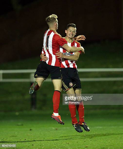 Luke Molyneux of Sunderland celebrates after he scores the second Sunderland goal with teammate rees Greenwood during the U23 Premier League...