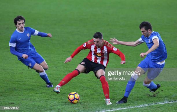 Luke Molyneux of Sunderland with the attentions of Inigo Cordoba Antoni Lopez of Bilbao on him during the Premier League International Cup Quarter...