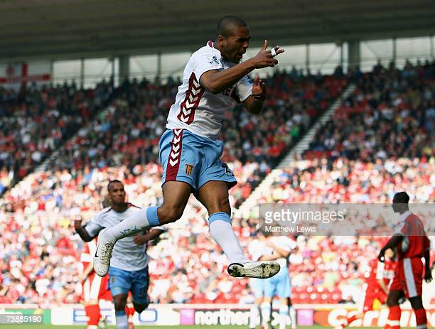 Luke Moore of Aston Villa celebrates his goal during the Barclays Premiership match between Middlesbrough and Aston Villa at the Riverside Stadium on...