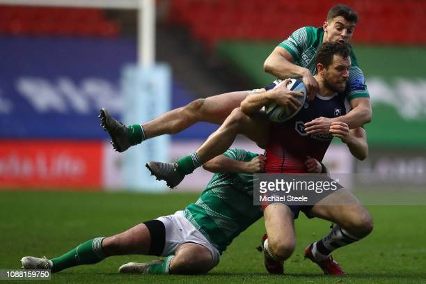 Luke Morahan of Bristol is tackled by Adam Radwan and Michael Young of Newcastle during the Gallagher Premiership Rugby match between Bristol Bears...