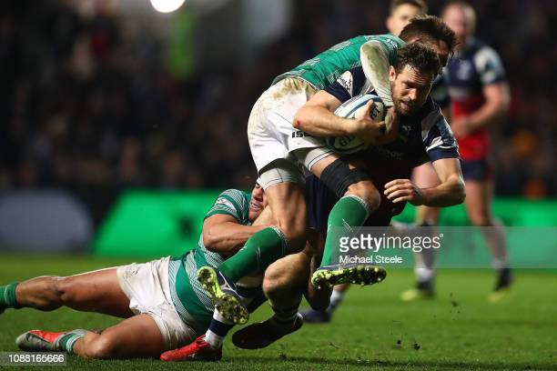 Luke Morahan of Bristol is tackled by Toby Flood of Newcastle during the Gallagher Premiership Rugby match between Bristol Bears and Newcastle...