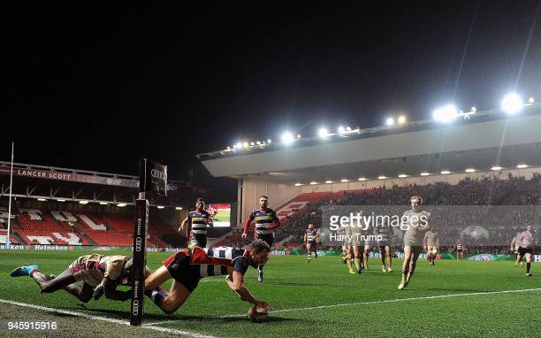 Luke Morahan of Bristol Rugby goes over for a try during the Greene King IPA Championship match between Bristol Rugby and Doncaster Knights at Ashton...